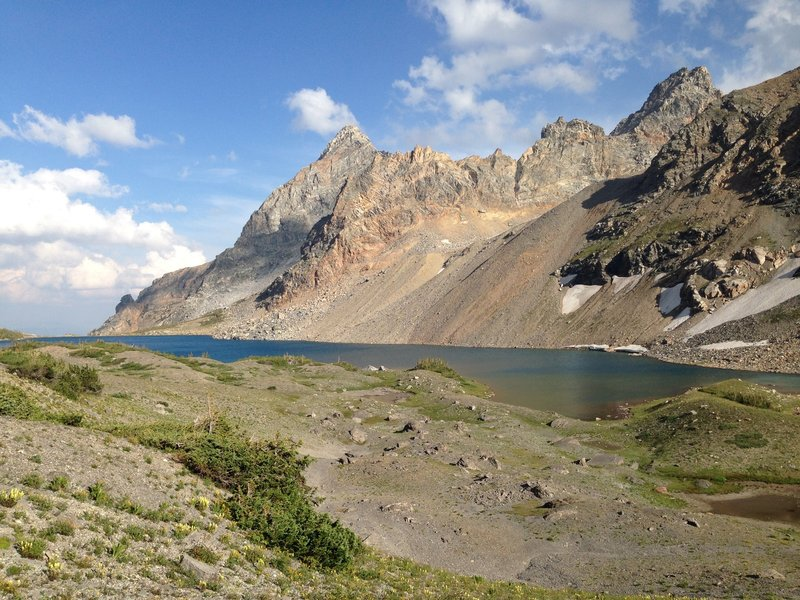 Snowdrift Lake with Veiled Peak and Mount Wister in the background.