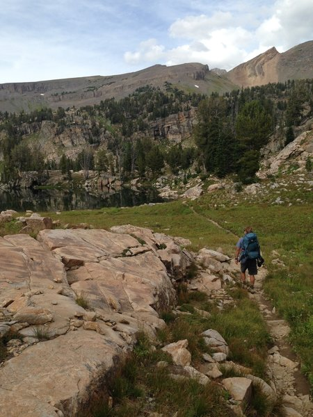 Heading into Alaska Basin on the South Teton Trail #027.
