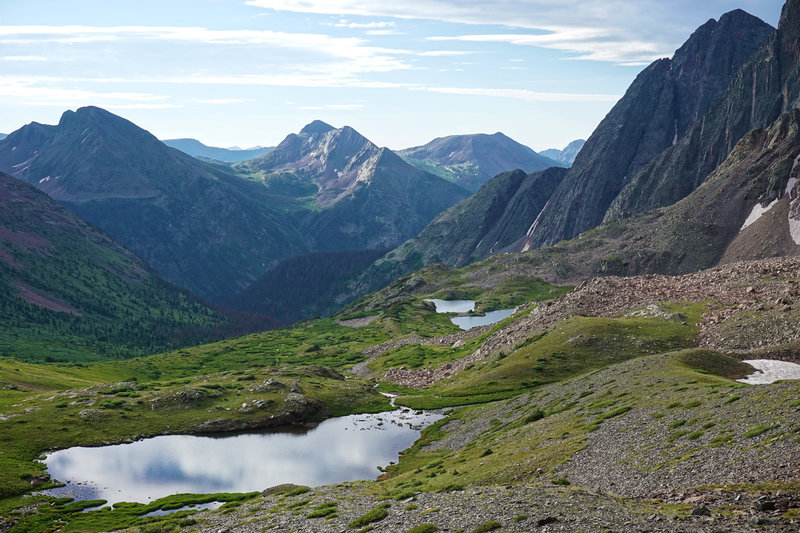 Looking down from Trinity Pass to a pond and Trinity Lake.