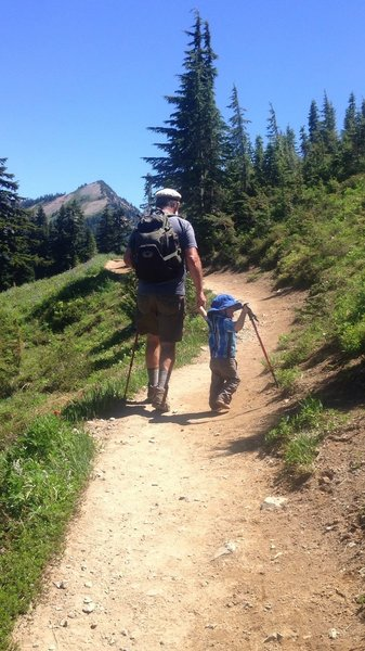Grandpa helps hike during the gradual incline. Our 2.5yr old hiked about a third of the trail.