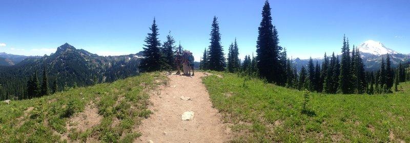 Panorama from Dewey Lake to Mt. Rainier.