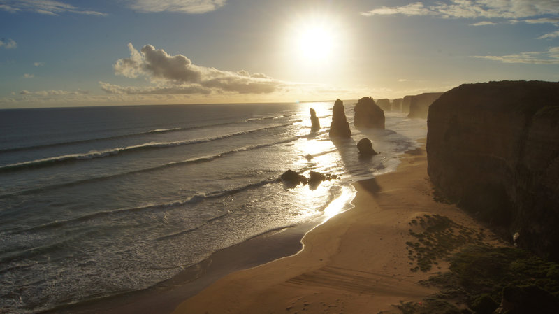 The Twelve Apostles just before sunset.