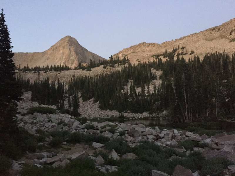 Dawn on the Pfeifferhorn, up above upper Maybird Lake.