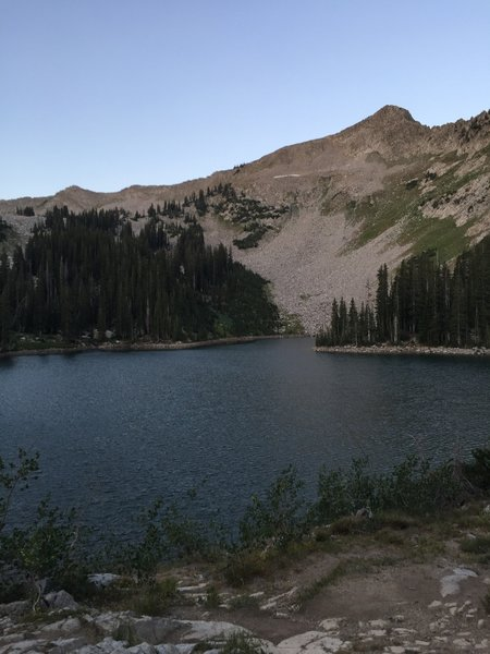 A view across lower Red Pine Lake to the ridge that separates Red Pine Canyon from Maybird Gulch.