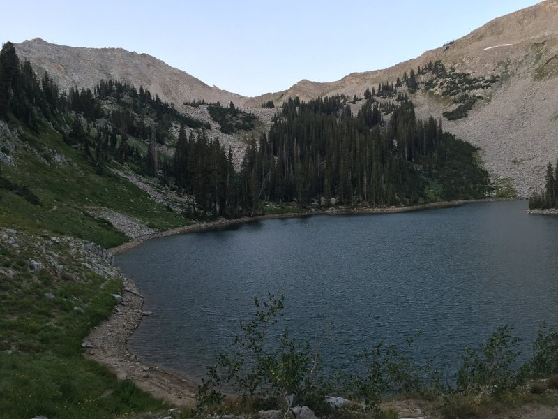 A view of the east side of lower Red Pine Lake, as well as part of the trail that goes around the lake.