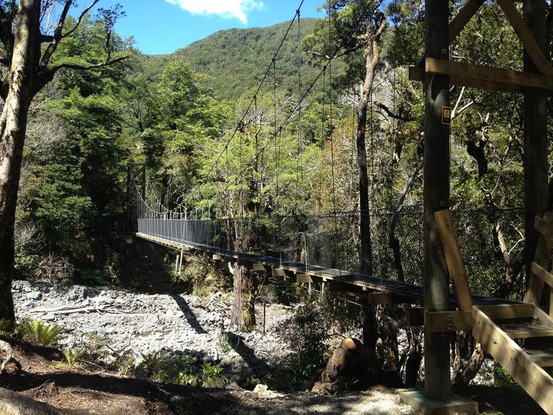 The longest of the wire rope bridges on the Atiwhakatu Trail.