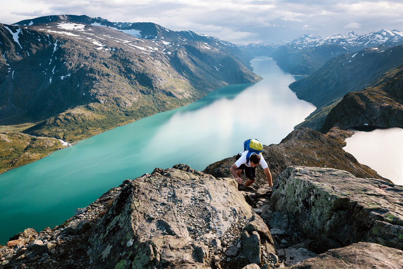 Rob Paris scrambles up Besseggen Ridge in Norway's Jotunheimen National Park, Norway's most-popular hike.