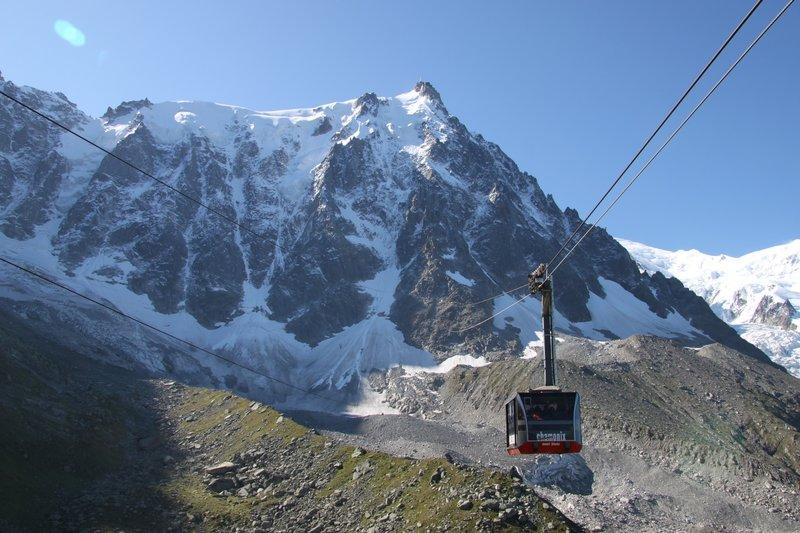 Leaving Plan de l'Aiguille for the vertical kilometre to the Aiguille du Midi, Chamonix Valley, France.