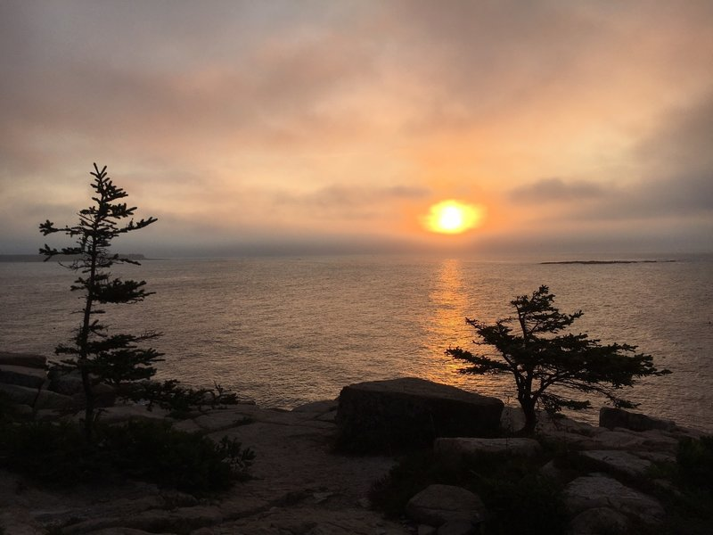 Sunrise from Schoodic Loop Road turnout near Anvil Trail.