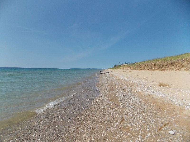 The beach at the end of the trail is sandy and seemingly endless. Very easy to get your own private section.