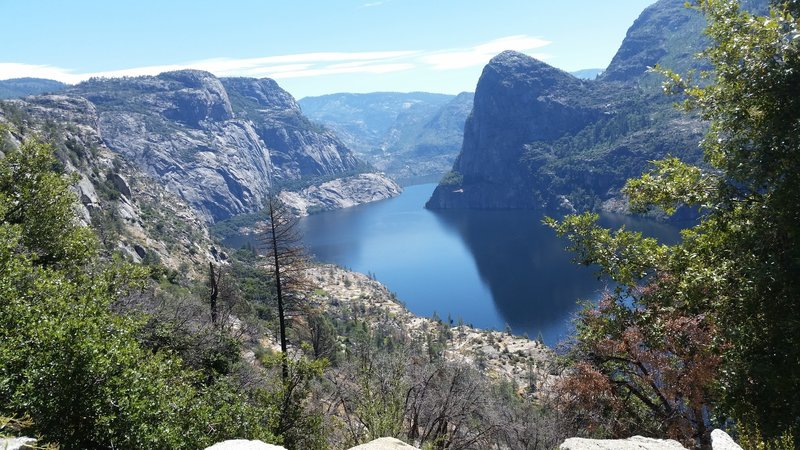 Looking down at the Hetch Hetchy Reservoir from the top of switchbacks.