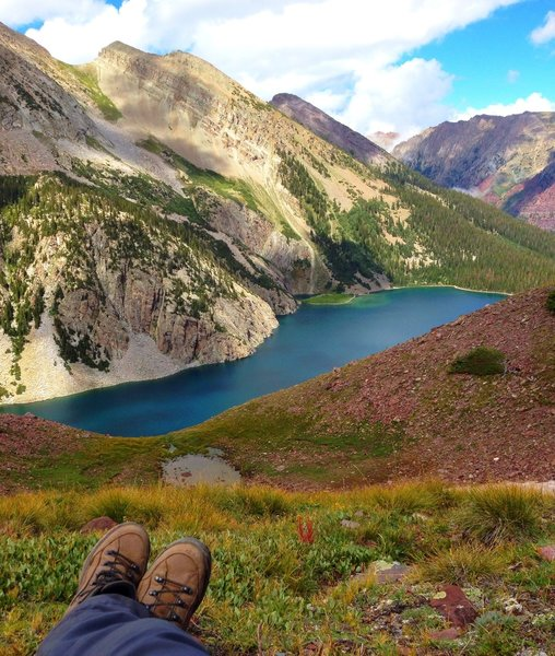 Taking a break on the way to Snowmass Lake on the Maroon Bells 4-Pass Loop.