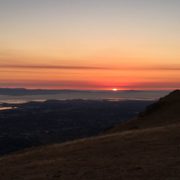 Sunset behind San Francisco as seen from Mission Peak in mid-August.