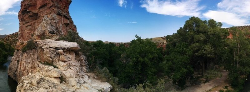 Pano of the park from the top of the Natural Bridge.