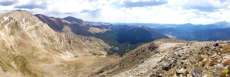 On top of Mt Chiquita looking toward Ypsilon on the left, Lake Ypsilon center, and Estes Park in the distance.