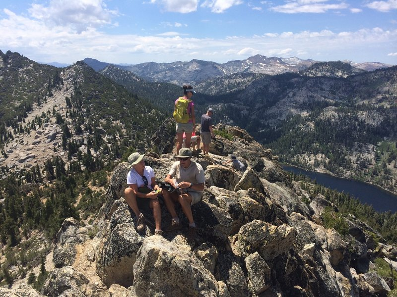 Looking at Stony Ridge Lake and the Desolation Wilderness from the top of Rubicon Peak