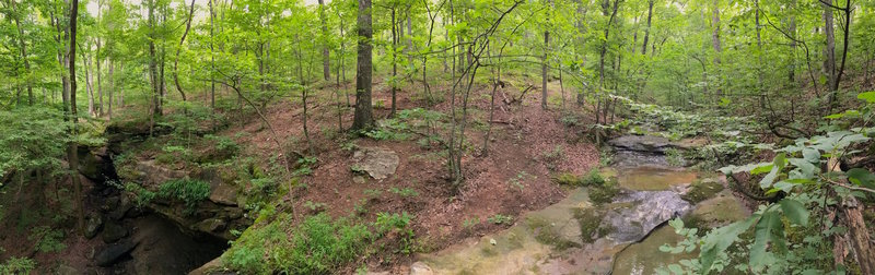 The Brier Creek and waterfall area. This spot is worth the effort!