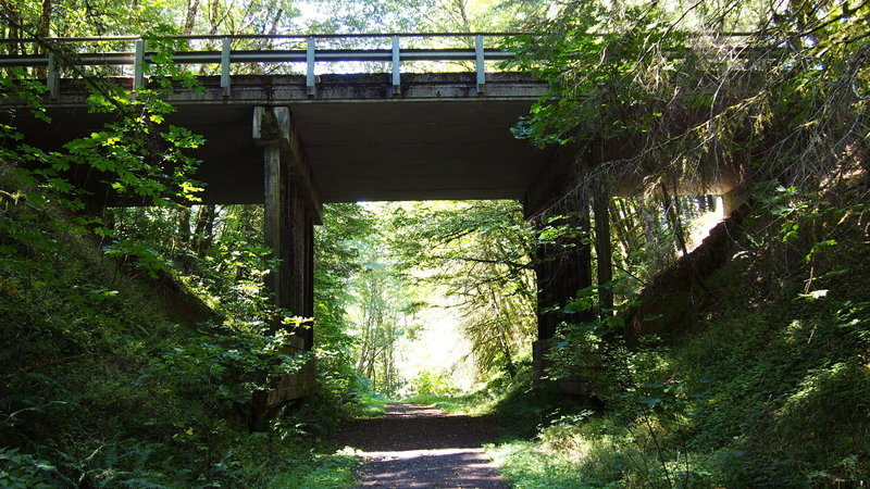 The bridge carrying Scappoose-Vernonia Highway. Continue underneath on the Columbia Forest Road to reach Vernonia.