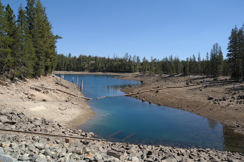 Low waters of Cascade Lakes as seen from the earthen dam. with permission from George Lamson