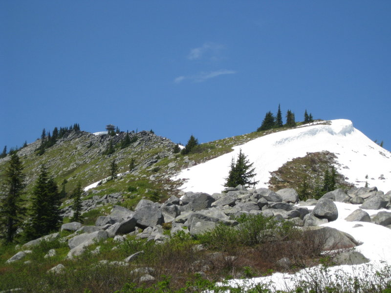 View looking up to Granite Mountain Lookout