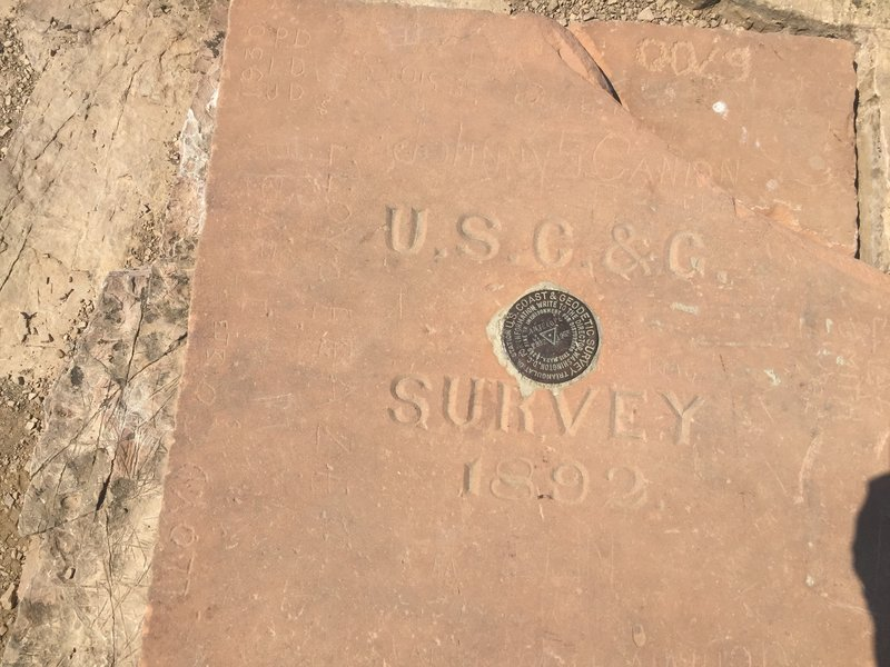 The original marker from the U.S. Coast and Geodetic Survey at the top of Frary Peak.