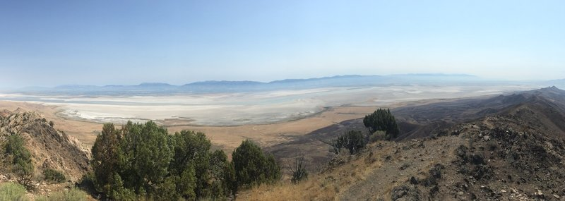 East-South east view of the Great Salt Lake from the top of Frary Peak.