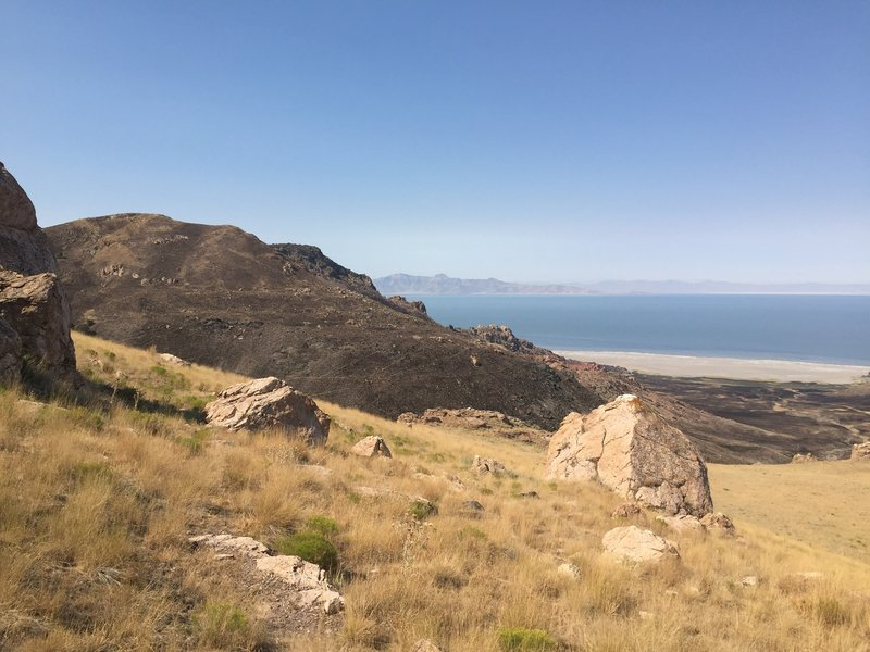 West facing view of the Great Salt Lake and a burn scar from the July 2016 fire on Antelope Island.