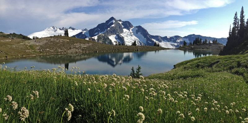 View of Whatcom Peak and Mt. Challenger from Tapto Lakes above Whatcom Pass.