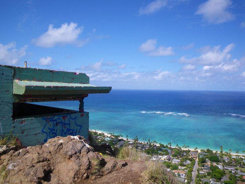 The pillbox and a view.