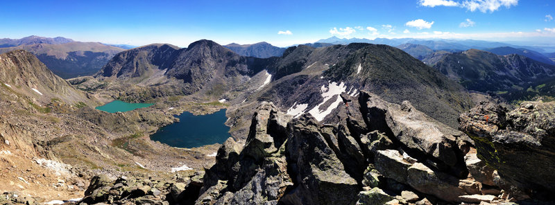 On top of Mt Ida looking East. Below are Azure and Inkwell lakes and Longs Peak in the distance.