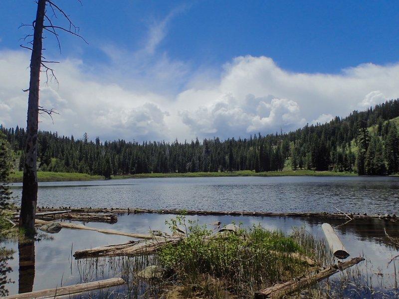 Richardson Lake and big dramatic mountain clouds.