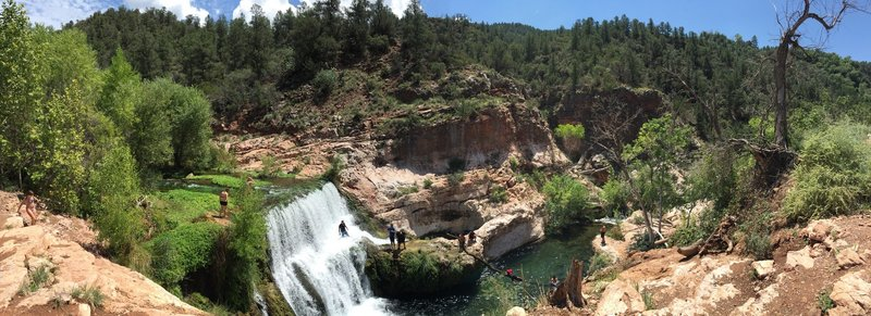 Panoramic view of the waterfall and toilet bowl.