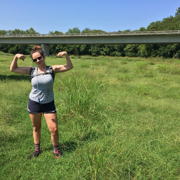 My wife as we passed under the Natchez Trace on the Garrison Creek Loop. This was one of her first hikes.