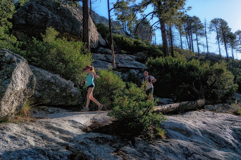 Running along boulders of the Sunset Trail.
