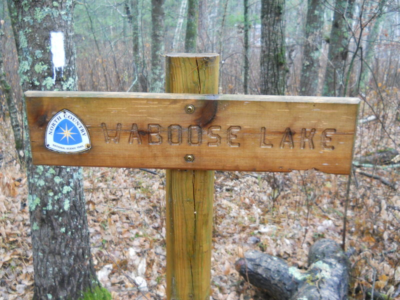 A sign along the North Country Trail / Waboose Lake loop identifies Waboose Lake.