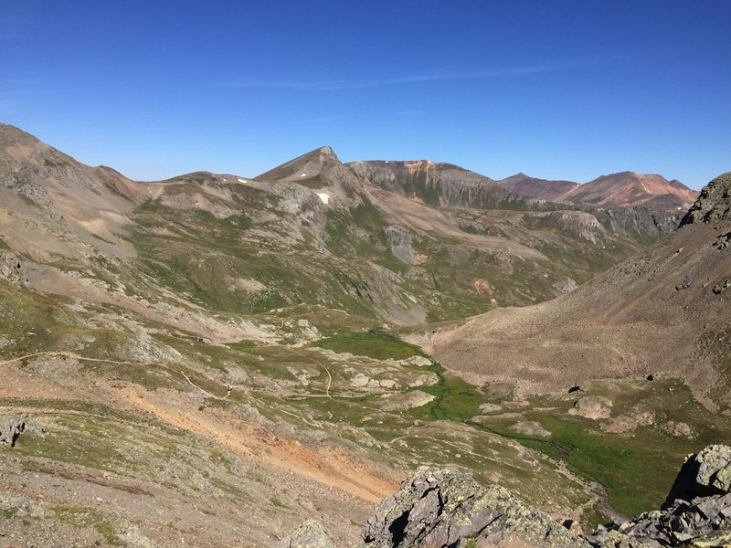 Looking back on the Handies Peak - Southwest Ridge Trail.
