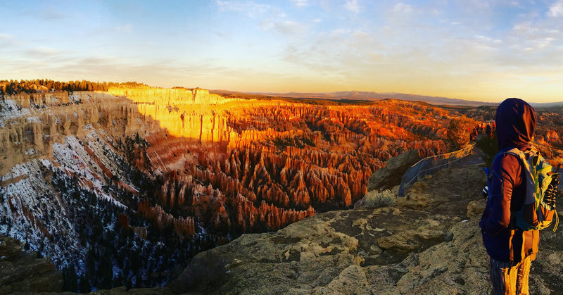 Catching the sun rising over the Hoodoos at Bryce Canyon NP.