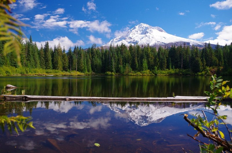Burnt Lake on the far side offers awesome shots of Mt. Hood and its reflection. Photo by Gene Blick.