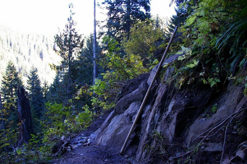 There is a narrow rocky section on the trail just below the lake. Photo by Gene Blick.