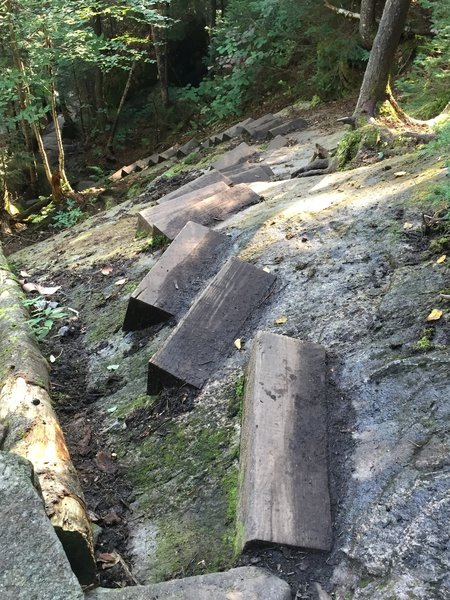 Steps in the rock, slippery when wet!! Be very careful!!