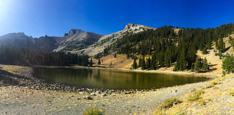 Stella Lake with Wheeler Peak in the background.