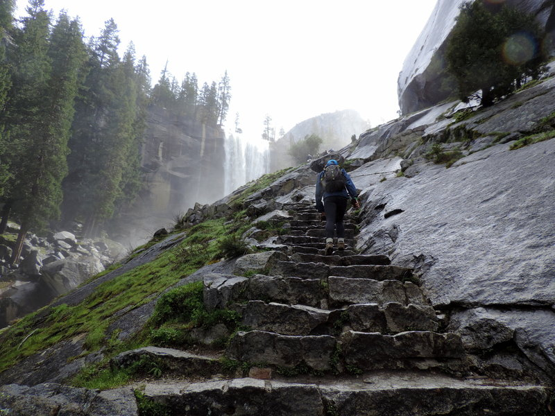 Start of the Mist Trail, just beneath Vernal Falls.