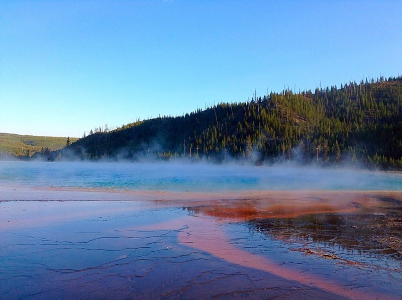 This is the view of Grand Prismatic Spring from the trail.