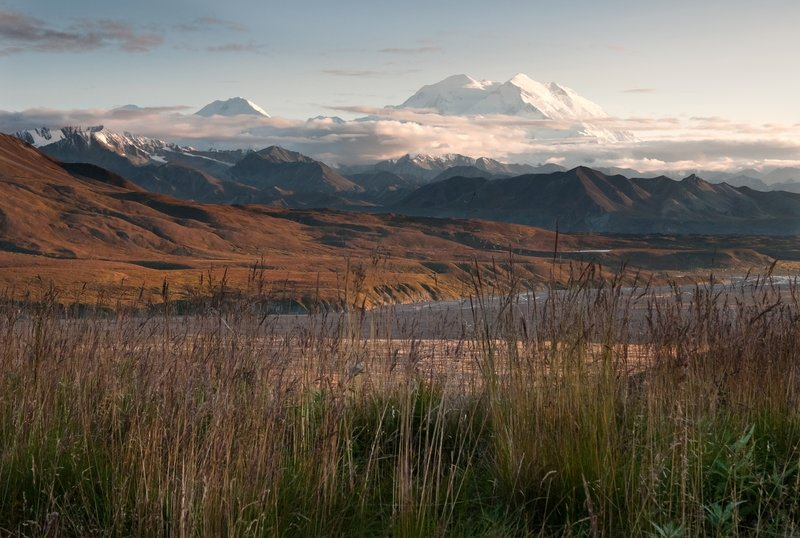 Denali towering over the landscape near Eielson Visitor Center. Photo Credit: NPS Photo/Tim Rains