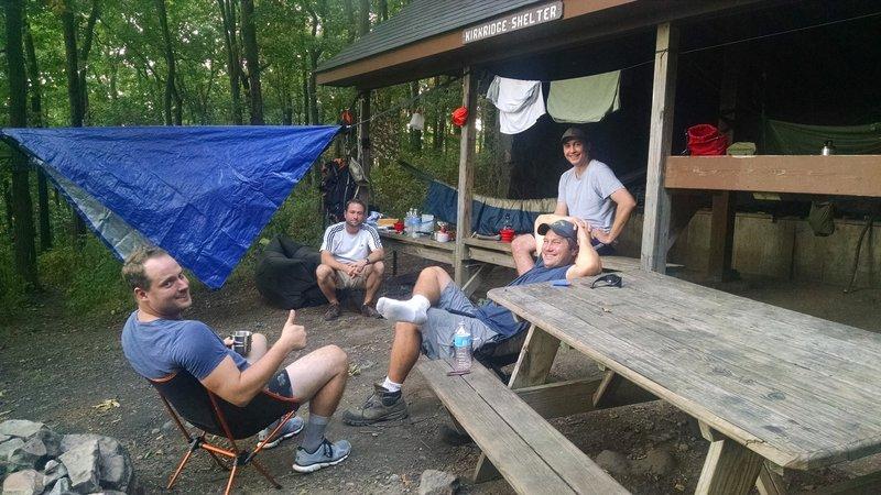 Smiles at Kirkridge Shelter: Appalachian Trail - Fox Gap PA to Columbia Gas Pipeline