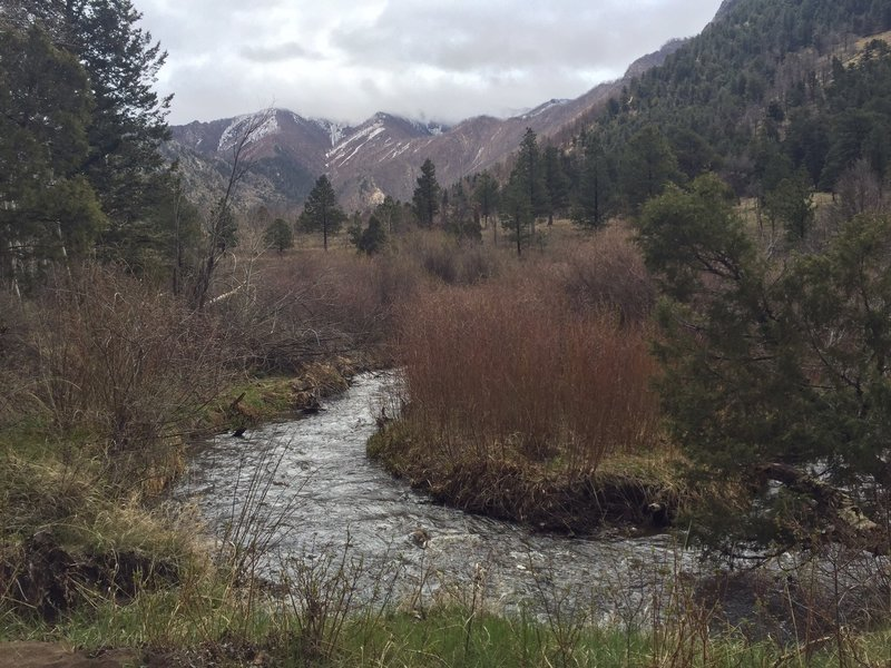 Narrow section of Medano Creek by Sand Creek Trail.
