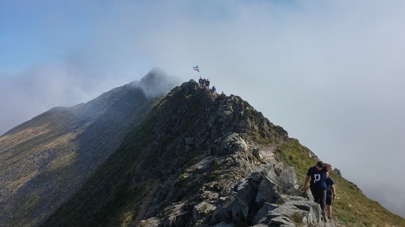 Between Striding Edge and Helvellyn.