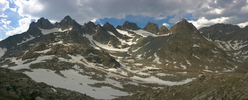 View of the Titcomb Basin peaks from the head of the basin, past where the trail ends.