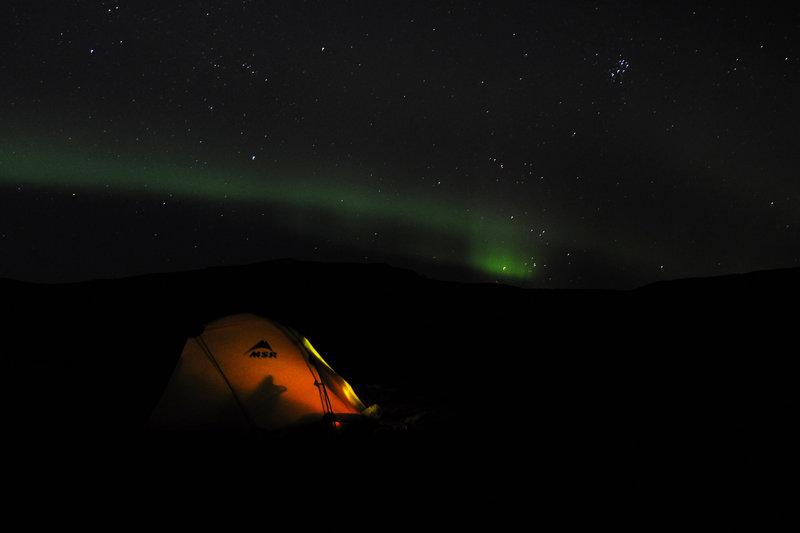 Northern lights on K'esugi Ridge.
