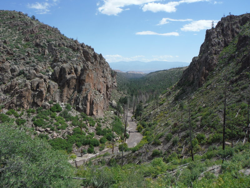 View of the Truchas Peaks in the Sangre de Cristo Mountains looks east down Guaje Canyon.